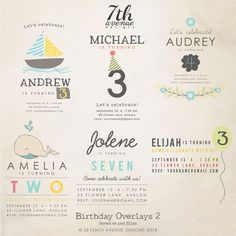 INSTANT DOWNLOAD  Birthday Words Overlays by 7thavenuedesigns, $20.00
