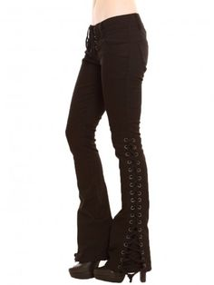 Black bell-button jeans featuring corset ties on sides and front closure