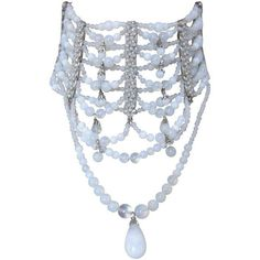 Preowned Christian Dior By John Galliano Rare Runway Opalescent... ($2,273) ❤ liked on Polyvore featuring jewelry, necklaces, multiple, bead chain necklace, hook necklace, chain necklaces, adjustable necklace and adjustable chain necklace