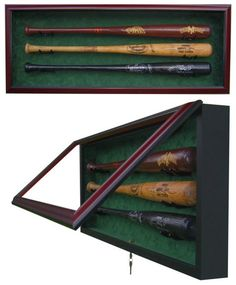 Premium 3 Baseball Bat UV Protective Shadow Box Display Case
