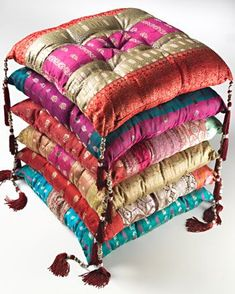 touch of Bollywood glamour with this antique sari seat cushion, made from recycled sari and brocade patchwork in India on a fair trade basis. Beaded corner tassels and assorted colours and patterns make each item truly unique. India Decor, Sari Fabric, Seat Pads, Chair Pads, Moroccan Decor, Bohemian Decor, Soft Furnishings, Seat Cushions, Floor Cushions