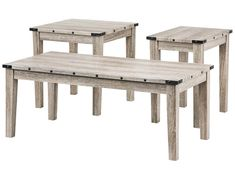 Clearance - Taos Collection - Washed Oak 3pk Table Set