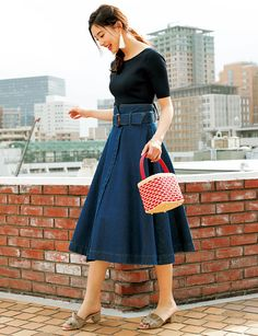 Full Skirt Dress, Full Skirts, Trendy Outfits For Teens, Fashion Outfits, Womens Fashion, Fashion Trends, Korean Outfits, Office Outfits, Elegant Woman