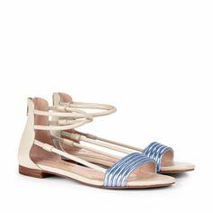 metallic periwinkle flat sandals