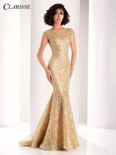 0a024e3f92d Clarisse Gold Lace Mermaid Evening Gown 4852 Mermaid Prom Dresses Lace