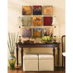 How to Arrange Picture Frames Diy Artwork, Artwork Display, Picture Arrangements, Entry Tables, Console Tables, Entrance Ways, Home Projects, Sweet Home, Entryway