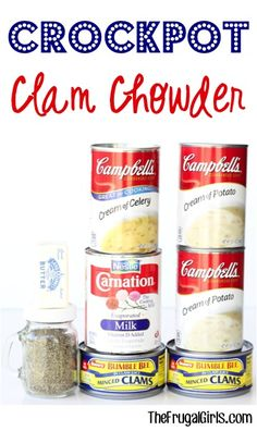 Low Unwanted Fat Cooking For Weightloss Crockpot Clam Chowder Recipe From This Crave-Worthy Slow Cooker Clam Chowder Is So Easy To Make And Absolutely Delicious Top With Some Bacon To Send It Over The Top Slow Cooker Clam Chowder, Clam Chowder Recipes, Chowder Soup, Seafood Recipes, Easy Crab Chowder Recipe, Drink Recipes, Fish Chowder, Clam Recipes, Asian Recipes