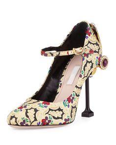 16df2eba9f6 Miu Miu Embellished Brocade Mary Jane Pump