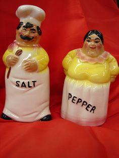 Nostalgic chef and cook salt & pepper set.  $38.50