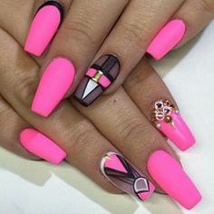 Hot Pink, Black, Gold, and White Designed Nails