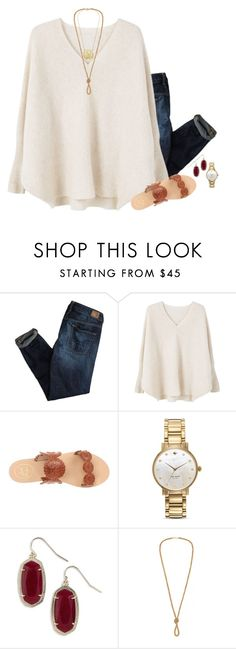 """""""// I want to feel my life while I'm in it -Meryl Streep //"""" by preppybelle ❤ liked on Polyvore featuring American Eagle Outfitters, MANGO, Jack Rogers, Kate Spade and Kendra Scott"""