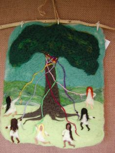Around the Maypole  Felted wool wall hanging by mountainhearth