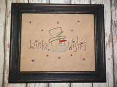 UNFRAMED Primitive Christmas Stitchery Snowman by wvluckygirl, $13.99