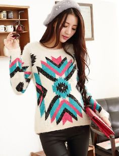 Ethnic Geometry Pattern Color Panel Sweater For Women | Item Code 727347 at M.EastClothes.com