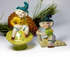 """Ceramic 40s Pixie Elf Salt Pepper Occupied Japan Import CAS Betty Harrington Mold Pixie Riding Snail Elf Sits on Mushroom Lusterware Finish"" From your friends at @seasidecollectibles"