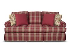 Create a welcoming atmosphere in your traditional home with the Clare sofa. This style, covered in your choice of our plaid and stripe fabrics, features a dressmaker skirt, rolled panel arm, and four throw pillows. For maximum style impact, pair it with the matching loveseat, chair, gliding chair, and/or ottoman. If you like the style, but don't love plaids or stripes, take a look at England's Cambria.