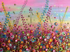 """For Sale $85.000...""""Sunset Surprise"""" - Acrylics and glitter on canvas!"""