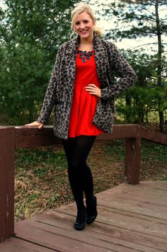 thedailysugar.blogspot.com red dress, holiday, forever 21, chicnova, modcloth, deb shops, black tights, glam, leopard print coat, statement necklace, pumps, heels, fashion, fashion blogger, fashion blog