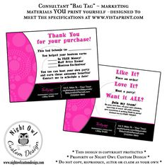 Thirty One Gifts Consultant or Director postcard - customer BAG TAGS what a great idea and vistaprint is always having sales on their postcards!