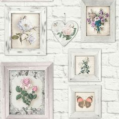 Brick Floral Frames Wallpaper