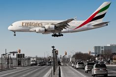An Emirates A380 spotted landing in Toronto.
