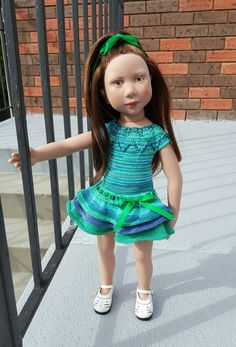 Daria in a new knitted dress. Pattern by Tanya Dubinina.