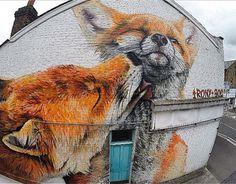 Say no to barbaric Fox hunt Street Art by Irony & Boe in SF Murals Street Art, 3d Street Art, Urban Street Art, Amazing Street Art, Street Art Graffiti, Mural Art, Street Artists, Amazing Art, Graffiti Artists