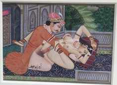 MAGNIFICENT 19C PERSIAN/INDIAN EROTIC MINIATURE WATERCOLOR PAINITNG SIGNED