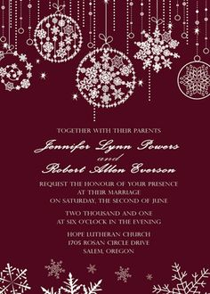 fabulous pump red sparkles and snowflakes christmas winter wedding invitations