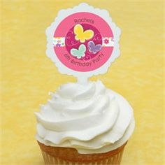 12 Cupcake Picks & 24 Playful Butterfly and Flowers Personalized Stickers - Do It Yourself Birthday Party Cupcake Toppers