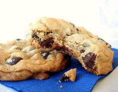 I moved out of the house in 1992 but my dad still insist I make his chocolate chip cookies for him. After much searching these are the ones we deemed best. Soft and chewy but with a lightly crisp outer layer. If you dont want the crispness, substitute more butter for the shortening.   I have found that you need to follow the directions *exactly* to get the best cookies. Not using real butter or all brown sugar, not beating the eggs in one at a time, not baking them at a higher temp than the…