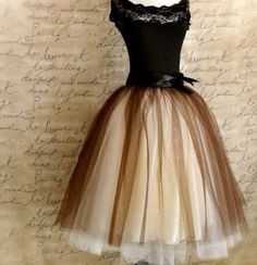 A beautiful vintage tulle-skirted dress, with a black lace top.