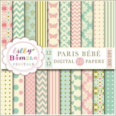 PARIS BÉBÉ  20 papers  300 dpi high resolution .jpgs.  12 X 12 inches  20 teal, salmon pink and gold modern papers for cards, invites, scrapbooking, design and crafts. Each paper is 12 x 12 inches and saved as a high resolution 300 dpi jpg.