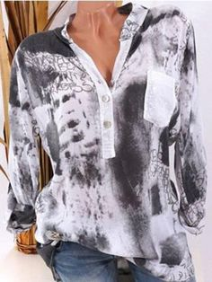 Casual Print Loose Long Sleeve V-neck Blouses For Women Cheap - NewChic Mobile