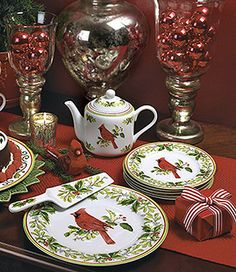 Another lovely setting::For Lenox Cardinals Christmas Dinnerware. <3 Cardinals.