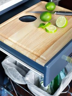 Pullout Prep Area. Make your fruit & vegetable prep easy by installing custom drawers above trash bins & recycling centers with pullout cutting boards. Use a drill & a paddle bit to drill a hole directly through the cutting board, allowing food scraps to fall directly through the drawer & into the trash bin, eliminating any mess.