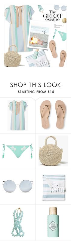 """""""Summer Nights: Beach Bonfire"""" by magdafunk ❤ liked on Polyvore featuring MANGO, Aéropostale, River Island, Clare V., Matthew Williamson, Serena & Lily, Benefit, stripeddress, pasteles and beachbonfire"""