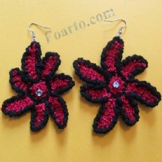 Beautiful red earrings in flower shape. Red Earrings, Flower Earrings, Crochet Earrings, Flower Shape, Crochet Flowers, Earrings Handmade, Shapes, Beautiful, Color