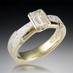 by Krikawa    Mokume Gane and Diamond Yellow Gold Engagement Ring