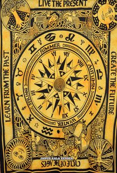 Beautiful Horoscope Tapestry Indian Astrology by JaipurKalaKendra