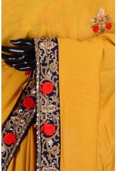 Pure Saree With Readymade Blouse-Honey Yellow-Resham Thread Work-WJ1873