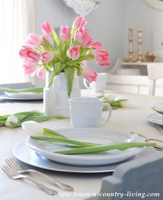Tulip Centerpiece at Town and Country Living