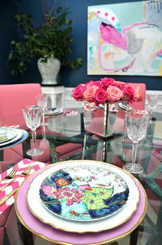 Holiday table setting, pink zig zag napkins, furbish studio