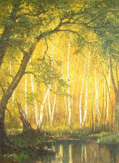 (North Korea) White birch forest by An Myeong-seok (1960-  )