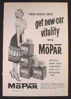 Magazine Ad for Mopar Batteries, Miss Mopar Pin-Up, 1955