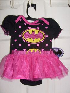 DC COMIC BAT GIRL INFANTS 1pc. 0-3 MONTHS ATTACHED PINK TUTU PINK HEART'S OUTFIT #Spencers #Everyday