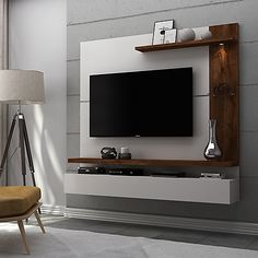 Fabulous TV Wall Design Ideas For Cozy Living Room - Good Housekeeping Mantra - Home decor interests Tv Unit Bedroom, Bedroom Tv Stand, Bedroom Tv Wall, Tv Unit Decor, Tv Wall Decor, Wall Decorations, Tv Wall Cabinets, Living Room Cabinets, Simple Tv Unit Design
