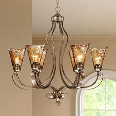 """Franklin Iron Works™ Amber Scroll 31 1/2"""" Wide Chandelier - over the dining table"""