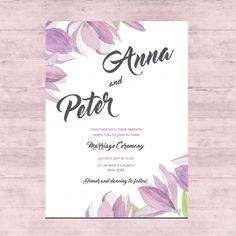 Projeto de cartão floral do casamento Vetor grátis