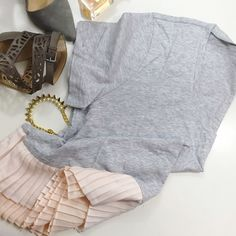 Gray Pleated Hem Tee Size L v neck tee with nude/blush pleated trim at hem. NWT. 12041509 J. Crew Tops Tees - Short Sleeve
